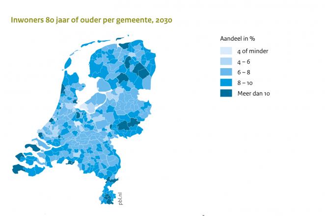 Inwoners 80 jaar en ouder per gemeente 2030